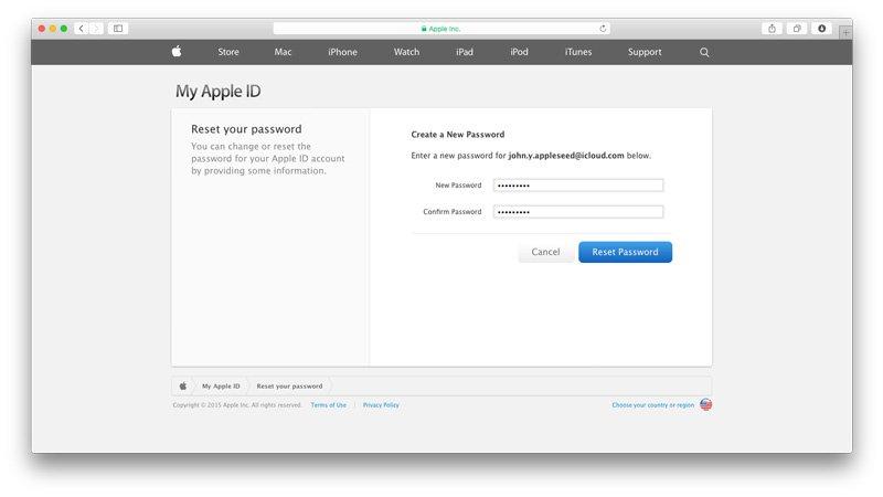 إعادة تعيين كلمة السر الخاصة بإيميل iCloud